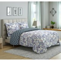 Peach & Oak Mindy 3-Piece Reversible King Comforter Set in Blue
