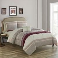 Nile 12-Piece Reversible King Comforter Set in Brick