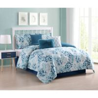 Martina Floral 7-Piece Queen Comforter Set in Aqua
