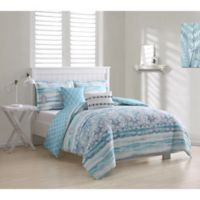 Cascade Damask 5-Piece King Comforter Set in Blue