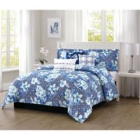 Carmela Home Ava Reversible 100% Microfiber 7-Piece King Comforter Set in Navy