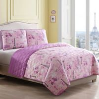 Magical Paris Reversible Twin Quilt Set in Pink/Purple