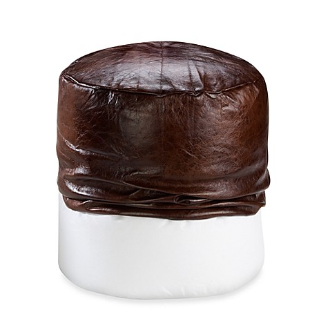 Faux Leather Footstool Cover Chocolate