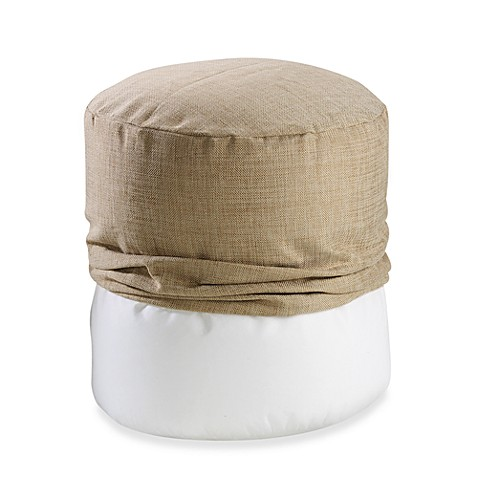 Metallic Linen Footstool Cover in Taupe