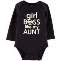 "carter's® Newborn ""Girl Boss Like My Aunt"" Bodysuit in Black"