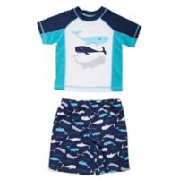 Freestyle Revolution Size 2T 2-Piece Whale of a Tail Rashguard and Swim Trunk Set