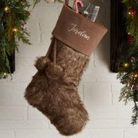 Embroidered Brown Fur Christmas Stocking