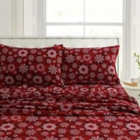 Tribeca Living Christmas Eve 200-Thread-Count Twin XL Sheet Set in Red