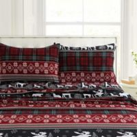 Tribeca Living 200-Thread-Count Holiday Plaid Queen Sheet Set in Black