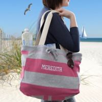 Embroidered Striped Beachcomber Bag