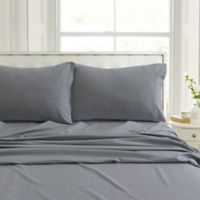 Tribeca Living Flannel 200-Thread-Count Deep-Pocket California King Sheet Set in Grey