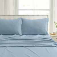 Tribeca Living Flannel 200-Thread-Count Deep-Pocket Twin Sheet Set in Blue