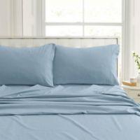 Tribeca Living Flannel 200-Thread-Count Deep-Pocket Queen Sheet Set in Blue