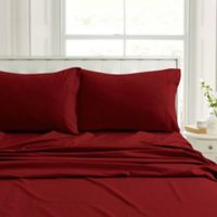 Tribeca Living Flannel 200-Thread-Count Deep-Pocket Twin Sheet Set in Cranberry