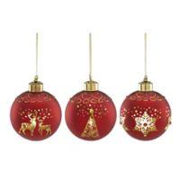 lenox red mercury glass christmas ornaments set of 3