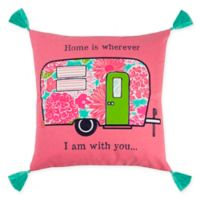 Rizzy Home Camper Square Throw Pillow in Pink