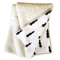 Deny Designs Joyeux Noel Sherpa Throw Blanket in Black