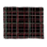 Deny Designs Festive Plaid Throw Blanket in Black/Green/Red