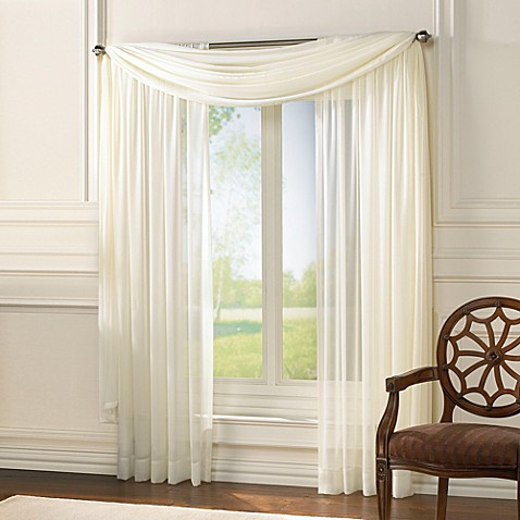 Classic Chiffon Window Scarf Valance in Ivory