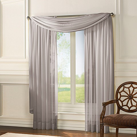 Classic Chiffon 63-Inch Window Curtain Panel in Light Grey