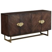 Coast to Coast Imports Brenda 4-Door Media Credenza in Brown