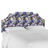 Skyline Furniture Parker King Floral Upholstered Headboard in Cobalt