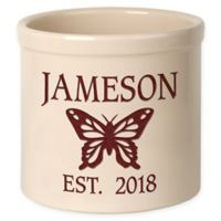 Butterfly Stoneware Crock in Red