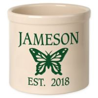 Butterfly Stoneware Crock in Green