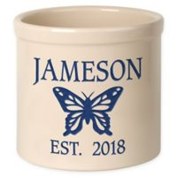 Butterfly Stoneware Crock in Blue