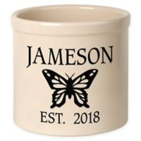 Butterfly Stoneware Crock in Black