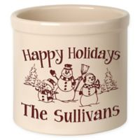 Snowman Family Crock in Red