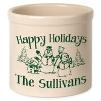 Snowman Family Crock in Green