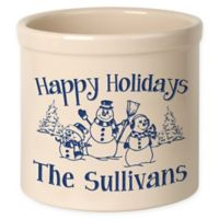 Snowman Family Crock in Blue