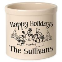 Snowman Family Crock in Black