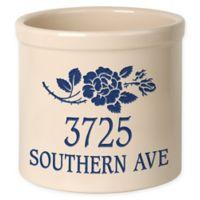 Rose Stem Stoneware Crock in Blue