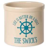 """""""Life Is Better On A Boat"""" Ceramic Planter Crock in Sea Blue"""
