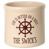 """""""Life Is Better On A Boat"""" Ceramic Planter Crock in Red"""