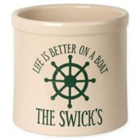 """""""Life Is Better On A Boat"""" Ceramic Planter Crock in Green"""
