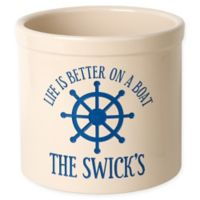 """""""Life Is Better On A Boat"""" Ceramic Planter Crock in Blue"""