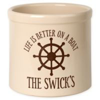 """""""Life Is Better On A Boat"""" Ceramic Planter Crock in Brown"""