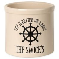 """""""Life Is Better On A Boat"""" Ceramic Planter Crock in Black"""