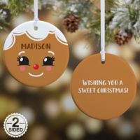 Gingerbread Character Personalized 2-Sided Glossy Christmas Ornament