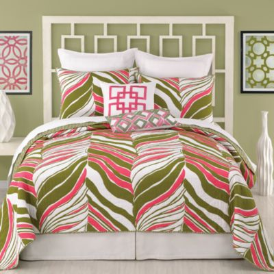 Charming Trina Turk® Tiger Leaf Reversible Twin Coverlet