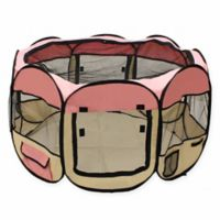 Octagonal Portable Pop Up Pet Playpen in Pink