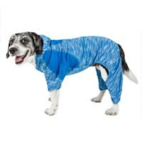 Pet Life ® Active Small Downward Dog Full Bodied Hoodie in Blue