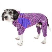Pet Life ® Active Medium Downward Dog Full Bodied Hoodie in Purple