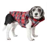 Medium Scotty Tartan Plaid Insulated Dog Coat in Red