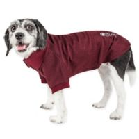 Pet Life Active Extra-Small Fur-Flexed Solid Polo T-Shirt in Burgundy