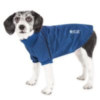 Pet Life Active Small Fur-Flexed Solid Polo T-Shirt in Navy