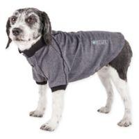 Pet Life Active Medium Fur-Flexed Solid Polo T-Shirt in Grey